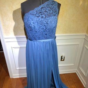 David's Bridal steel blue lace one shoulder dress